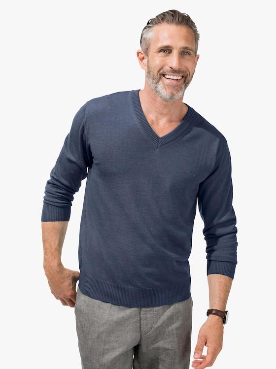 V-Pullover - jeansblau