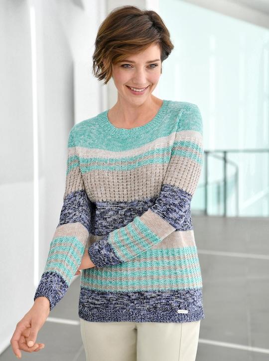 Collection L Pullover - mint-jeansblau-geringelt