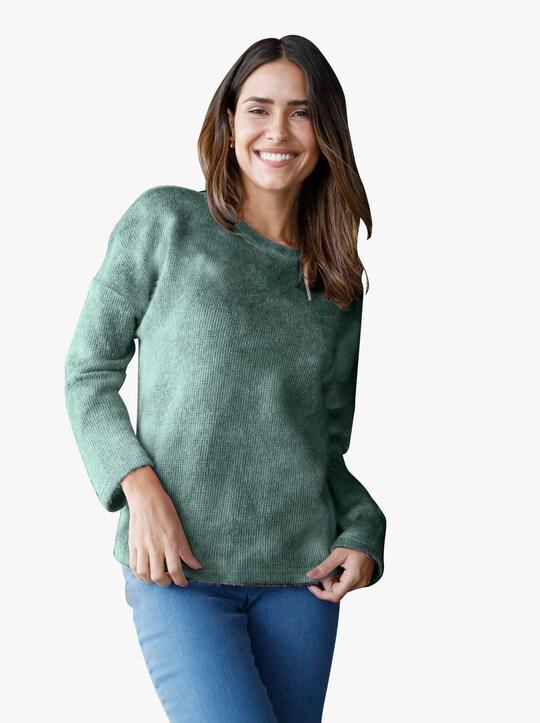 Pullover - groen/wit gedessineerd