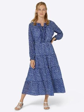 Kleid - royalblau-eisblau-bedruckt