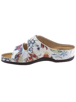 Franken Schuhe Pantolette - weiß-geblümt