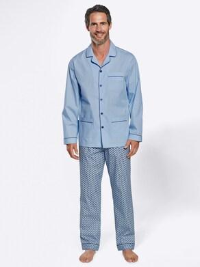 KINGsCLUB Pyjama - hellblau-gemustert