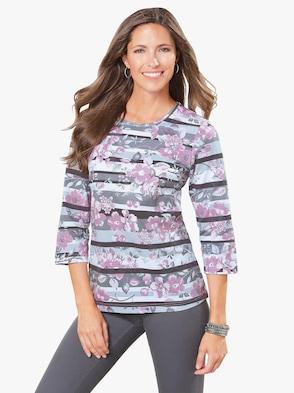 Shirt - grijs/roze gedessineerd