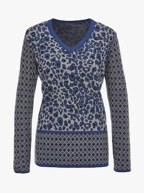 Pullover - blauw gedessineerd