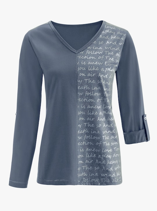 Shirt - rookblauw bedrukt