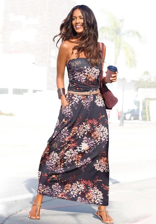 LASCANA Maxi-jurk - zwart geprint