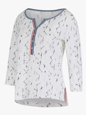 Shirt - weiß-blau-bedruckt