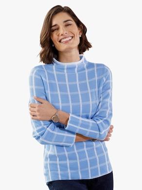 Pullover - himmelblau-kariert