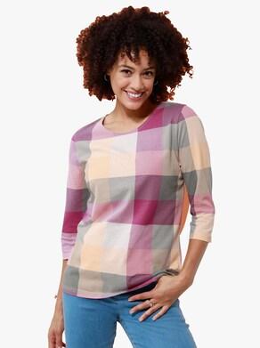 Tričko - magenta-meruňková-vzor