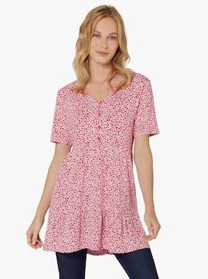 Longshirt - ecru-erdbeere-bedruckt
