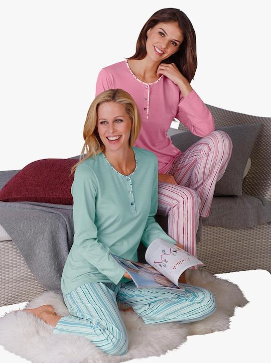 Ascafa Pyjama's - mint + roze