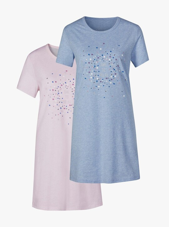 wäschepur Sleepshirts - hellblau-meliert + rosé-meliert