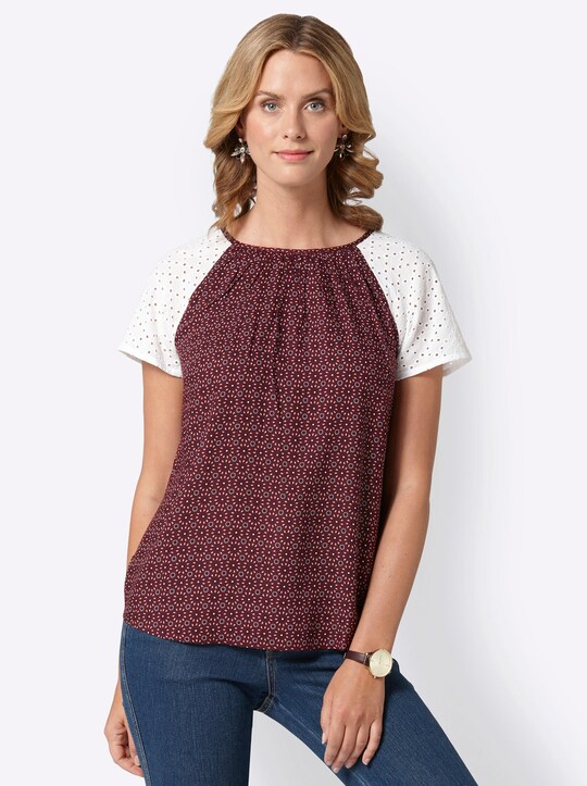 Blouse - wijnrood geprint