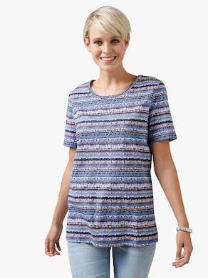 Shirt - marine/koraal bedrukt
