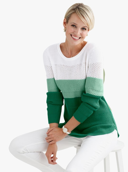 Pullover - grün-geringelt