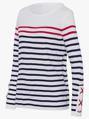 Pullover - marine-geringelt