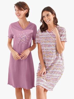 wäschepur Nachthemden - flieder + flieder-bedruckt
