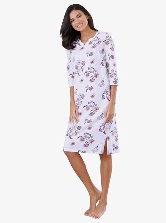 Nachthemd - ecru/prune geprint