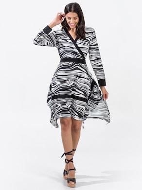 Jersey-Kleid - schwarz-weiß-gemustert