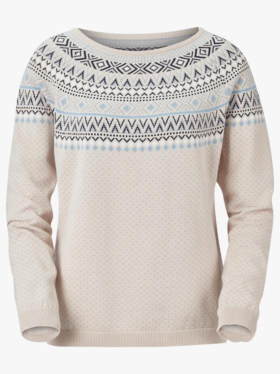 Pullover - sand-bleu-gemustert