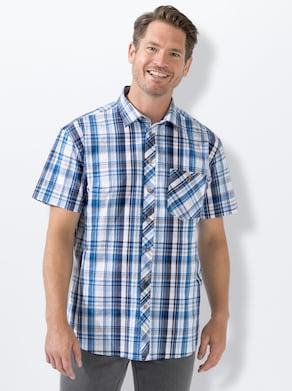 Marco Donati Kurzarm-Hemd - blau-kariert