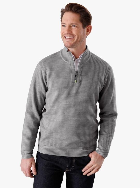 Stehkragen-Pullover - hellgrau-meliert