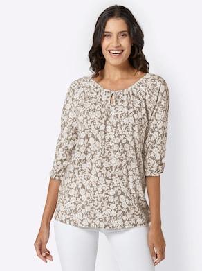 Shirt - taupe gedessineerd