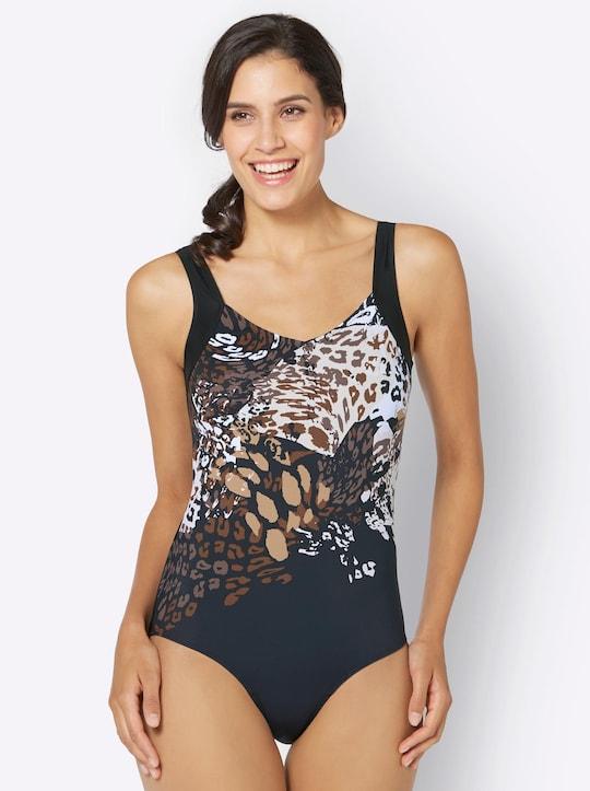 feel good Badeanzug - schwarz-bedruckt