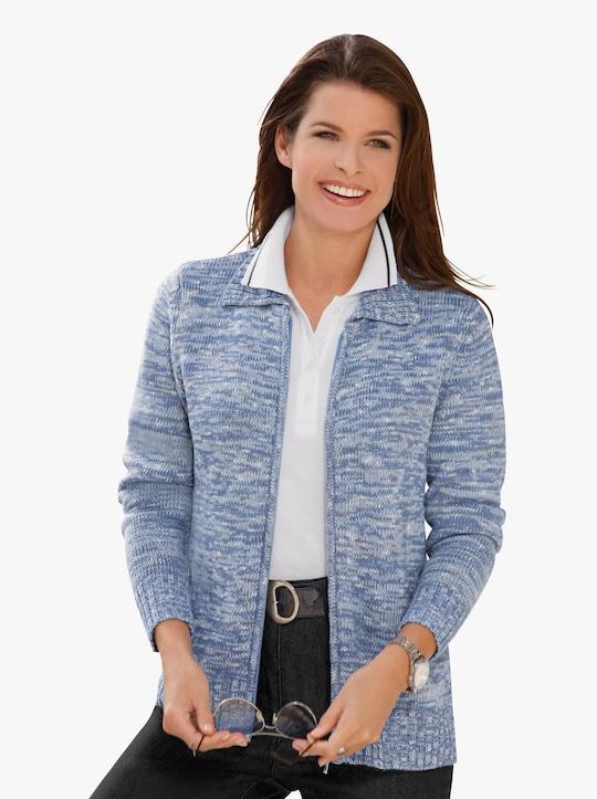Pletený kabátek - modrá-melír