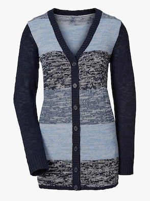 Strickjacke - marine-blau-gestreift