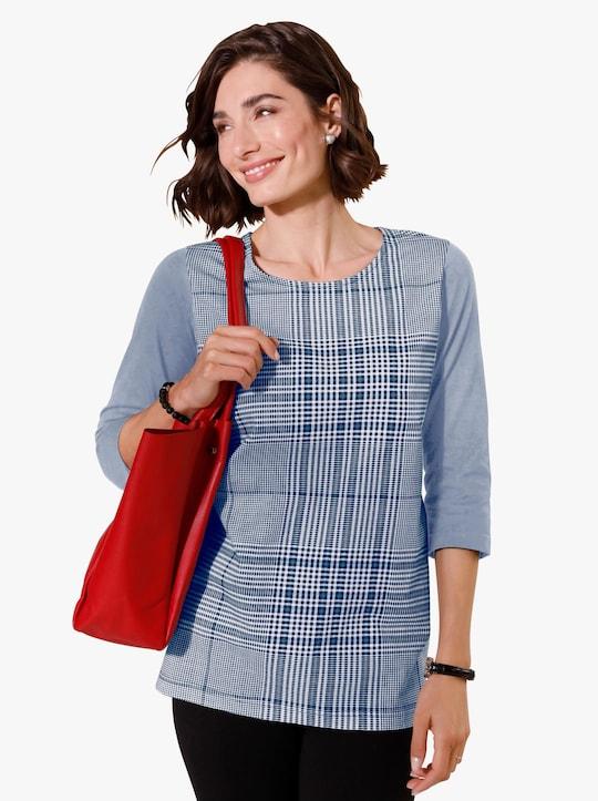 Dlouhé tričko - holubí modrá-kostka