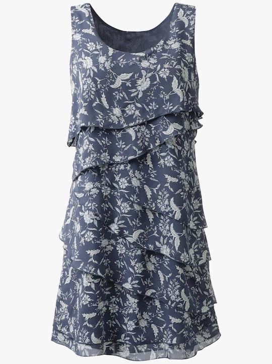 Kleid - rauchblau-bedruckt