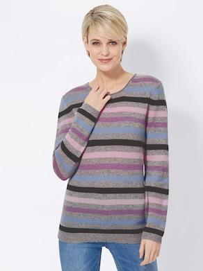 Collection L Kaschmir-Pullover - rosé-grau-gestreift