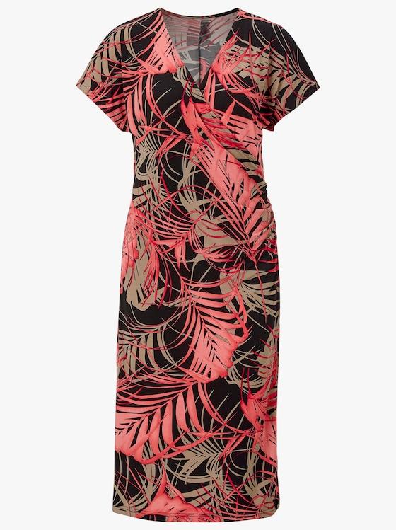 Fair Lady Jersey-Kleid - koralle-schwarz-bedruckt