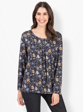 Shirt - marine-ocker-bedruckt