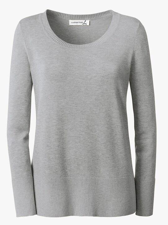 Collection L Rundhals-Pullover - grau-meliert