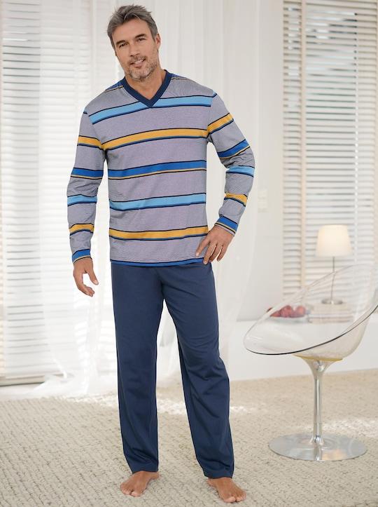 wäschepur Schlafanzug - marine-gelb-gestreift