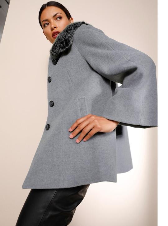 Woll-Jacke - grau-meliert
