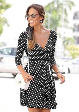 LASCANA Jerseykleid - schwarz-weiß-gepunktet