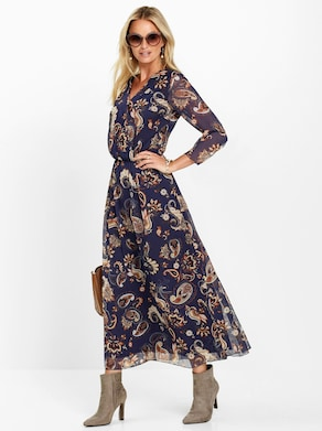 Kleid - dunkelblau-gemustert