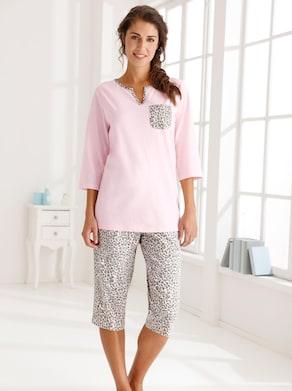Capri-Schlafanzug - rosé-grau-bedruckt