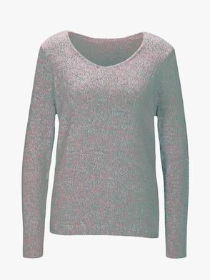 Pullover - aqua-rosé-meliert