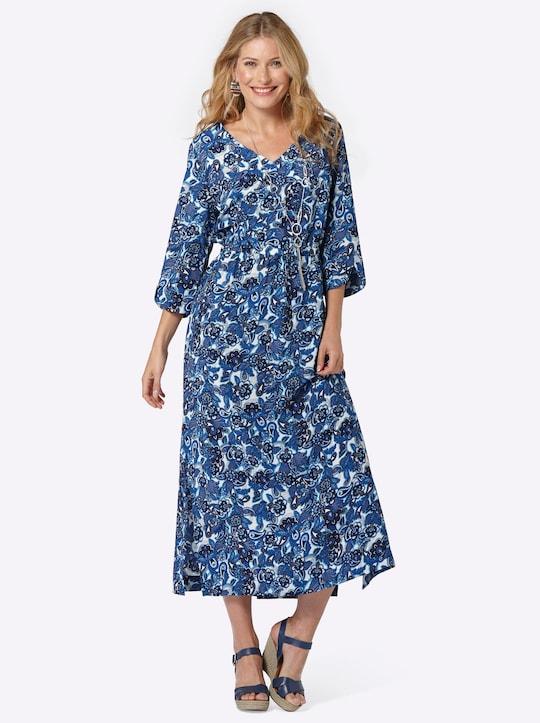 Kleid - blau-gemustert