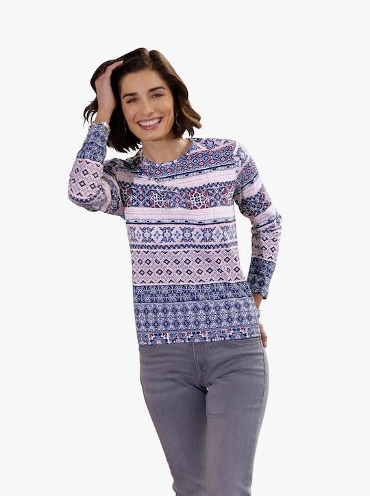 Shirt - jeansblauw gedessineerd