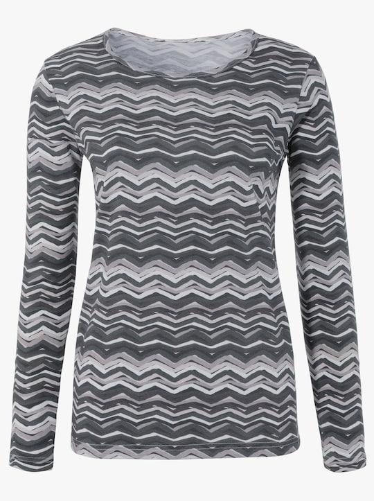 Tričko - antracitová-světlešedá-potisk