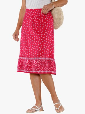 Trikåkjol - jordgubbe, mönstrad
