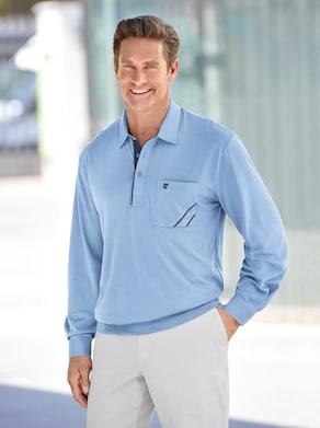 Langarm-Poloshirt - bleu