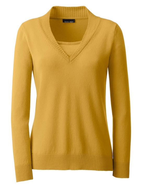 Kaschmir-Pullover - ocker-meliert