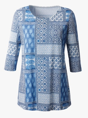Dlouhé tričko - modrá-vzor