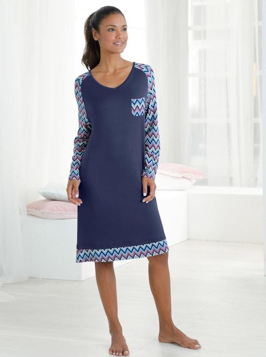 wäschepur Nachthemd - marine-gemustert